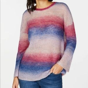 INC Pink Ombre Striped Long Sleeve Sweater D8